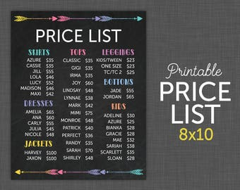 NEW! LuLa 8x10 Price List | Lula Price Sheet | Price Sign | Lula Chalkboard with Arrows - INSTANT DOWNLOAD