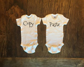 Twin Baby Onesie Set Copy and Paste Boy or Girl Custom Colors Available