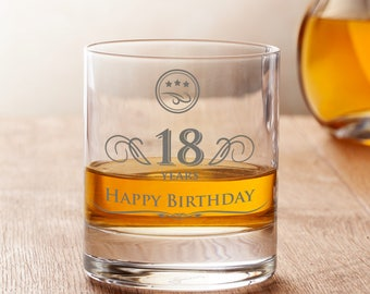 Engraved Whisky Glass - Happy Birthday - Elegant Tumbler - Personalised with Years - Birthday Gift - Gifts for Men - Gifts for Whisky Fans