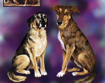 Colorful Custom Multiple Pet Portrait- DIGITAL