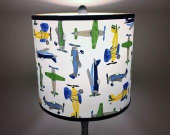 Drum Lampshade - Airplane Fabric