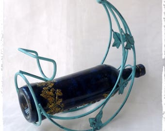 Vintage Metal Wine Rack Spirits sipper, Wine Holder, Wine gift Metal Wine Stand Wine Bottle Holder Blue Shabby Chic Wine Shabby Chic kitchen