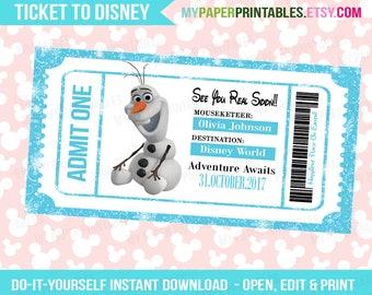Olaf Disney Frozen Printable Ticket To Disney DIY Personalize INSTANT DOWNLOAD Disney World Disneyland Surprise Disney Frozen