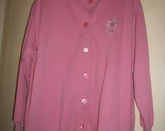 Vintage Pink Cotton Blend Cardigan Size PXL