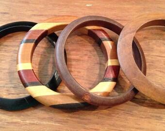 Vintage Retro Wood Bangle Bracelets, set of 4