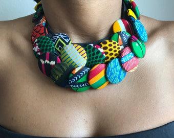 Necklace multicolor multi strand wax