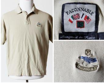 Vintage Men's Faconnable Polo Shirt Crest Short Sleeve - 90s Retro Large L