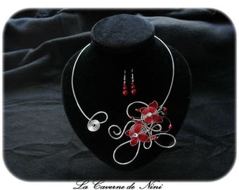 Burgundy and silver butterfly earrings + necklace
