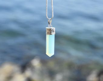 opalite stone gemstone pendant necklace chaine crystal necklace