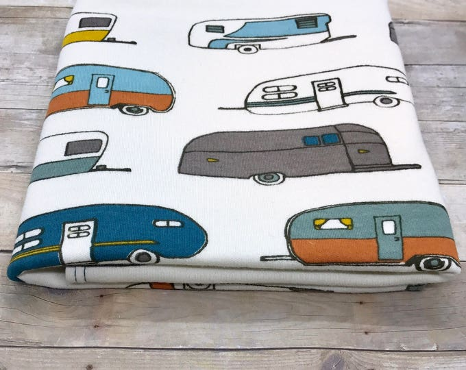 "19"" x 35"" vintage camper organic cotton t-shirt hair towel"