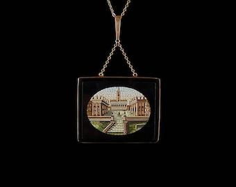 Antique Italian Gold and Onyx Micro Mosaic Pendant