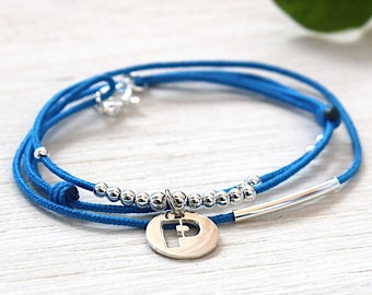 Bracelet personalized cord bracelet and beads, medal Sterling Silver 925