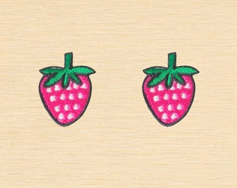 Set of 2 pcs Mini Pink Strawberry Strawberries Berry Fruits Iron On Patches Sew On Appliques