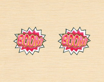 Set of 2 pcs Mini Boom Comic Sound Iron On Patches Sew On Aplliques
