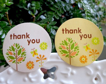 100 pcs THANK YOU label with tree design