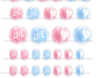 40 Digital Images series 111 - love creations cabochons - sending by e-mail