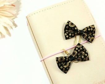 Black and Gold Fabric Bow Planner Clip and Charm