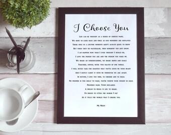 I Choose You - Printable Wedding Words