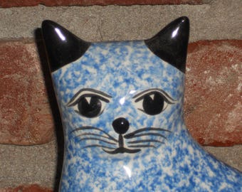Vintage Enesco Figurine - Cat Figurine - Speckled Cat - Ceramic Cat - Streamlined Design - Blue and White Cat - Collectible Cat - 1980