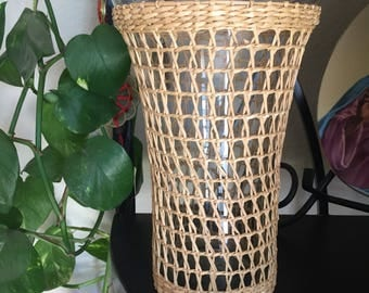 Wicker Wrapped Vase • Vintage Wicker Vase • Vintage Glass Vase with Wicker Wrapping