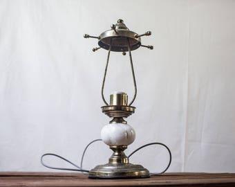 Brass Table Lamp, Vintage Table Lamp, Porcelain Antique Lamp, Brass Bedside Lamp, Vintage Brass Lamp, Antique Brass Bedside Lamp