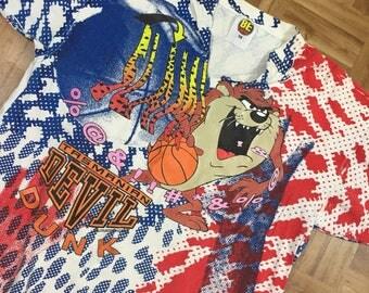 Vintage Looney Tunes Wild Print Shirt Size XL