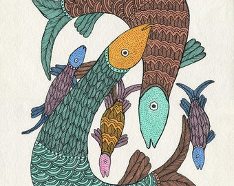 Fishes, Gond Artwork, original acrylic