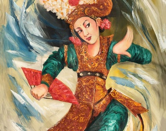 Swirly Dance, Indonesian Artwork, Mixed Media, Streatched Canvas Giclee of Traditional Oil on Canvas Balinese Painting; Ready to Hang!