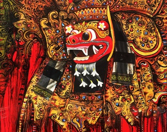 Barong: The King of Spirits,, Indonesian Artwork, Streatched Canvas Giclee of Traditional Oil on Canvas Balinese Painting; Ready to Hang!