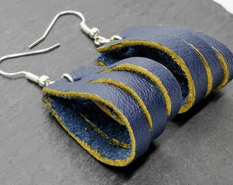 Blue and gold leather loop earrings