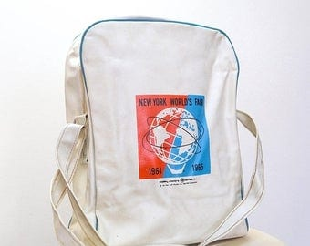 """CLEARANCE SALE Vintage 1964-65 New York World's Fair Unisphere Official Tote Bag RARE 12""""x 10"""" x 5"""""""