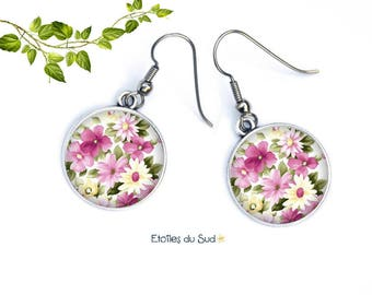 Surgical steel hooks, art, Spring Flower Earrings N 375