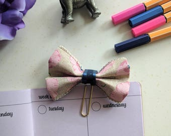 Pink and Blue Bow Planner Clip