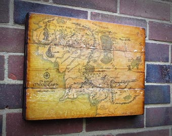 Middle Earth Map, Lord of the Rings Map. Rustic wall decor, Printed photo.  Handmade