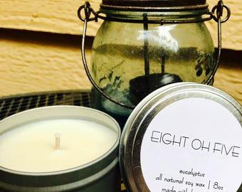Eucalyptus - All Natural Soy Candle - 8oz Travel Tin