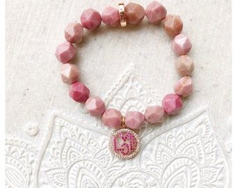 Beautiful Rhodochrosite Star Nugget Zen Love bracelet.