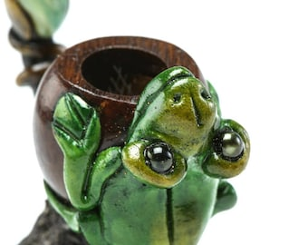 Frog Pipe, Smoking Pipe, Hand Pipe, Smoking Bowl, Sustainable, Collectible, Frog Pipe w/ Andean Walnut Base, Handcrafted Unique Pipes