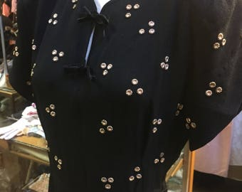 Tri-cluster black wool crepe studded 1940's dress...brassy little studs!