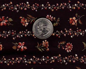 Vintage 1980s Quilt Fabric Peter Pan Brown Floral Stripe OOP