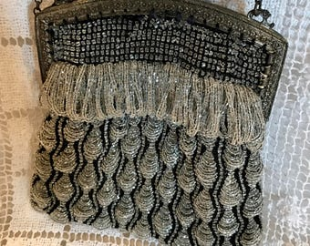 Antique beaded and tassled handbag /purse