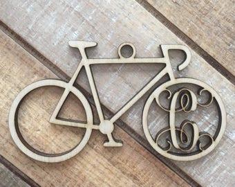 monogram bicycle christmas ornament personalized cycling ornament bicycle ornament bicycle initial christmas ornament - Bicycle Christmas Ornament