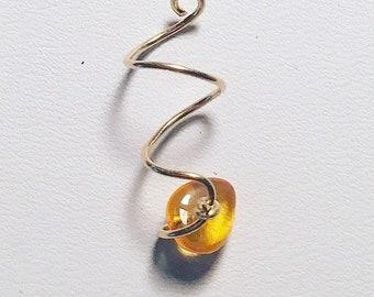 Adjustable Loc Jewel Amber on Gold Loc Jewelry Dreadlock Jewelry Dread Beads Loc Charms Dread Accessories