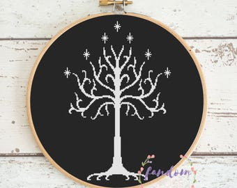 White Tree of Gondor Cross Stitch PDF Pattern | Digital Download | Geek Cross Stitch Pattern | Lord of the Rings Cross Stitch Pattern