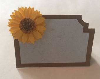 Sunflower place card and handwritten names