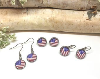 American Flag Earrings - Fourth of July Earrings - Patriotic Earrings - Patriotic Jewelry - Gift for Her - Red White and Blue Jewelry