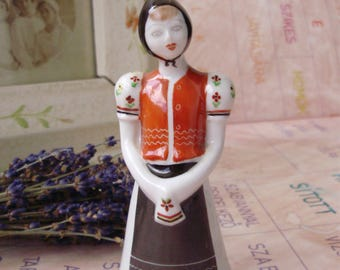 Vintage Hungarian HOLLOHAZA  figurine,Little girl in traditional volk cloth, stamped,handpainted