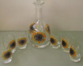 Unused Vintage drinking set jug 6 pcs glasses sunflower pattern