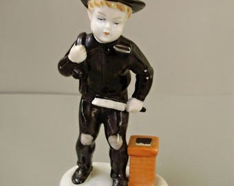Vintage, Metzler & Ortloff porcelain child figurine,little chimney boy,hand painted,фарфоровая статуэтка