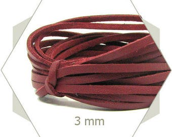 1 m cord 3 mm Burgundy CP11 leatherette