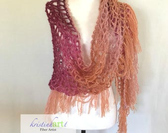 Fringed Coral Ombre Shawl / Handmade Crochet / Women's Gift Idea / Lacy / Coral / Burgundy / Purple / Pink / Peach / One Size